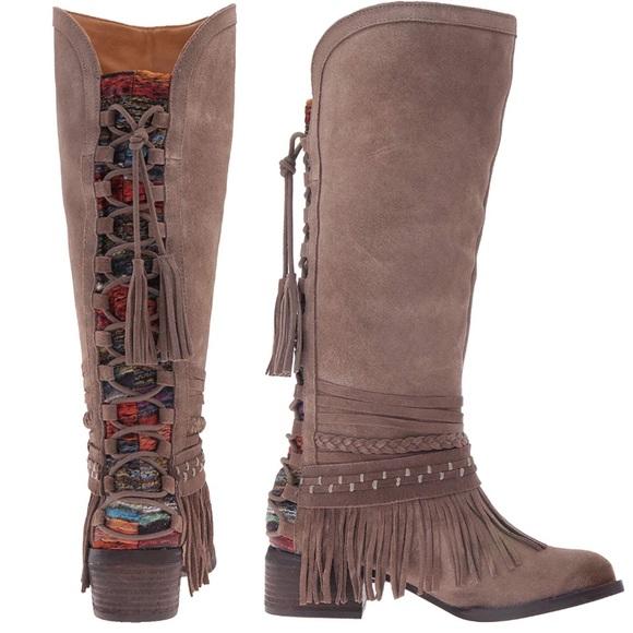 51481176ac3291 Naughty Monkey Boho Fringe Western Lace Back Boot. NWT. DSW